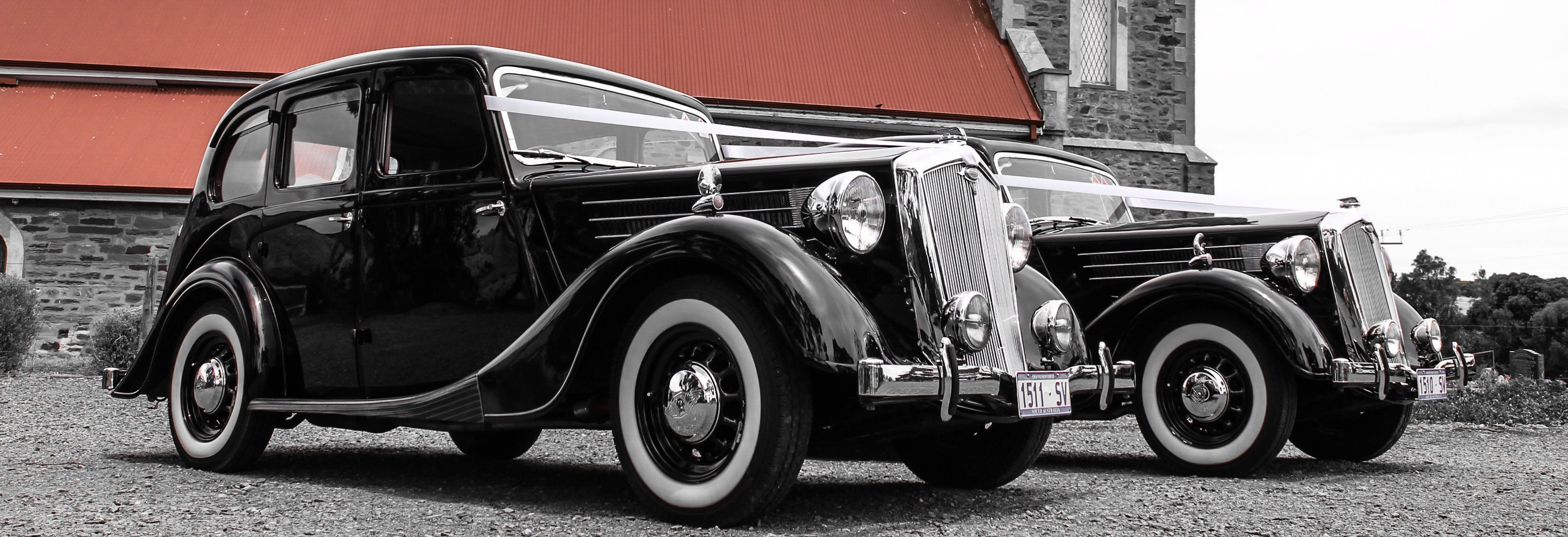 wolseley wedding cars Adelaide front and side low view